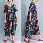 Elbow-sleeve V-neck Patterned Midi Dress