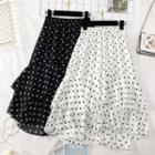 Ruffled Dotted Chiffon Skirt