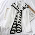 Striped Knit Shawl Stripes - Black & White - One Size
