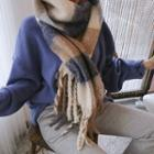 Fringed Wool Blend Check Scarf