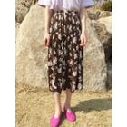 Floral Pattern Pleated Long Skirt