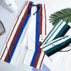 Elastic-waist Striped Cropped Harem Pants