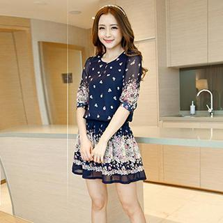 Short-sleeve Floral Chiffon Dress