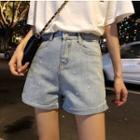 Glitter Wide-leg Denim Shorts