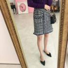 Band-waist Houndstooth H-line Tweed Skirt Black - One Size