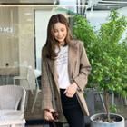 Double-breasted Plaid Blazer Brown - One Size