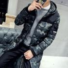 Hooded Camouflage Print Padded Coat