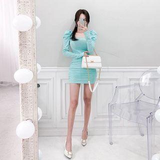 Square-neck Shirred Bodycon Dress