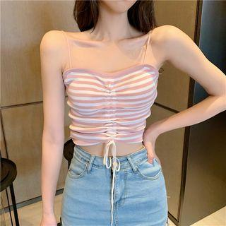 Striped Drawstring Knit Camisole Top