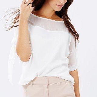 Short-sleeve Loose-fit Top White - One Size