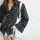 Wide-sleeve Plaid Shirt