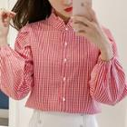 Plaid Balloon-sleeve Blouse