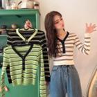 Placket Striped Knit Top