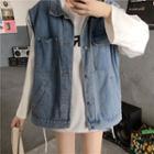 Buttoned Denim Vest Blue Vest - One Size