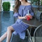 Asymmetric Neck Striped Shirtdress