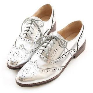 Genuine-leather Perforated Oxfords