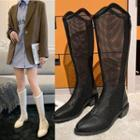 Mesh Chunky-heel Ankle Boots
