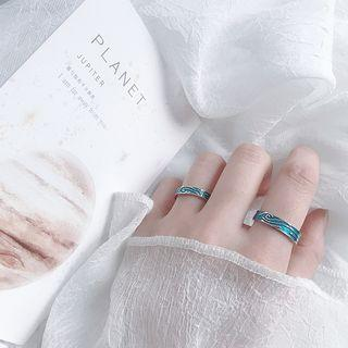 925 Sterling Silver Embossed Wave Open Ring