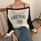 Letter Sheer Long-sleeve Knit Sweater
