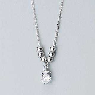 925 Sterling Silver Star Rhinestone Pendant Necklace S925 Silver - Necklace - One Size