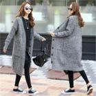V-neck Cable-knit Long Cardigan Black - One Size