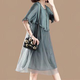 Ruffle Trim Mesh Panel Short-sleeve Shift Dress