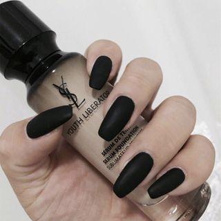 Plain Nail Art False Nail 11 - Black - One Size