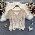 Pointelle-knit Short-sleeve Top