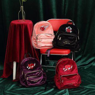 Rabbit Embroidered Velvet Backpack / Rabbit Embroidered Nylon Backpack