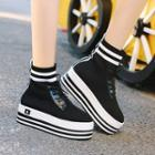 Knit Panel High-top Sneakers