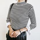 High-neck Striped Knit Top
