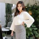V-neck Slit-sleeve Furry-knit Top