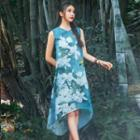 Sleeveless Printed A-line Midi Dress