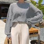 Bishop-sleeve Boxy-fit Striped Pullover