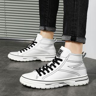 Faux Leather Lace-up High-top Sneakers