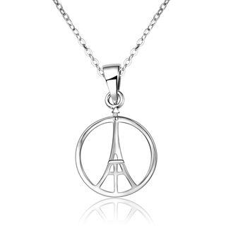 925 Sterling Silver Eiffel Tower Pendant Necklace Silver - One Size