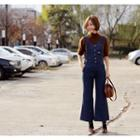 Pocket-detail Denim Suspender Jeans