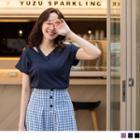 Lace Trim Short-sleeve V-neck Top