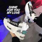 Knit Panel Lettering Platform Sneakers