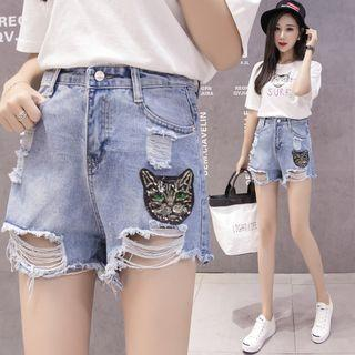 Cat Accent Denim Shorts