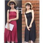 Plain Strappy Midi A-line Dress