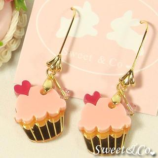 Mini Pink Cupcake Crystal Gold Earrings
