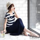 Shirred Striped Placket Top