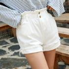 Paperbag-waist Cotton Shorts / Denim Shorts