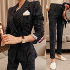 Set: Pinstriped Blazer + Slim-fit Dress Pants