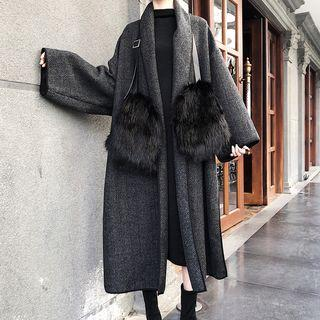Open Front Coat / Faux Fur Gloves