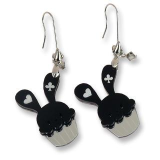 Sweet Black Bunny Cupcake Of Heart Swarovski Crystal Dangle Earrings