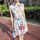 Printed Sleeveless Shirtdress
