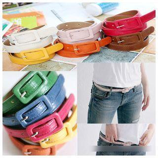 Plain Faux-leather Slim Belt