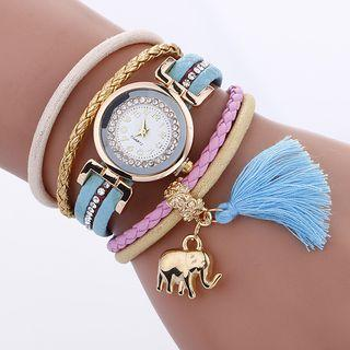 Embellished Faux Leather Layered Bracelet Watch